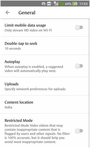 "Tap on ""General"" settings to Setup YouTube Parental Controls Android - Restricted mode filtering YouTube"