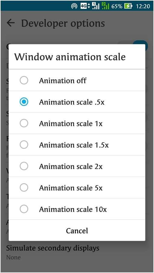 Tap on each one of them one by one and change their animation scale to .5X - How to Make Android Faster with Developer Options