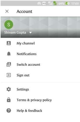 Tap on profile icon in the top right corner of the screen to go to Account settings to Setup YouTube Parental Controls Android - Restricted mode filtering YouTube