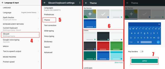 next page click on the Apply button - How to Change Android Keyboard Color to Any Color