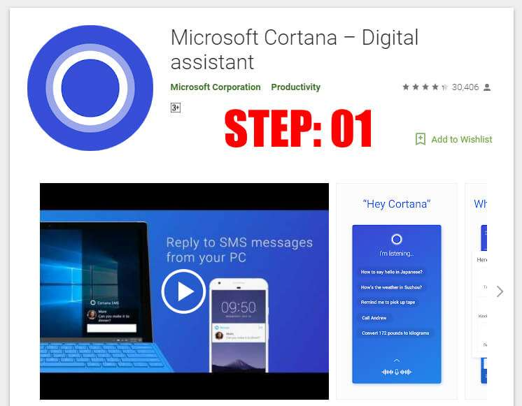 Get the Cortana app from Google play store and install it - How to Get Desktop Notifications For Android on Windows 10