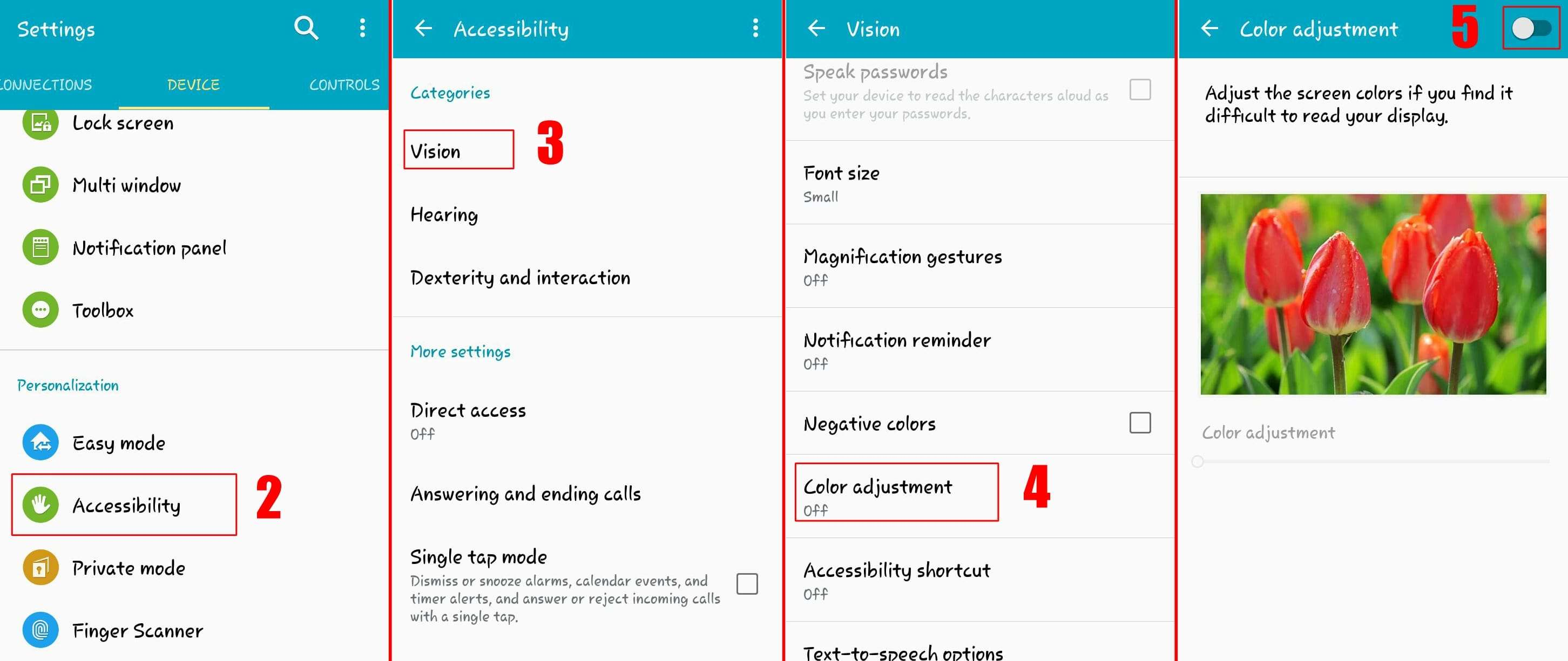 How to Adjust Samsung Screen Color Change Using Accessibility