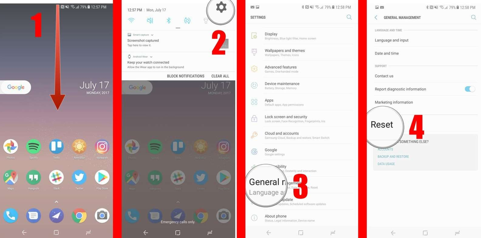 next page, click on Reset option - How to Factory Reset Samsung Galaxy S8