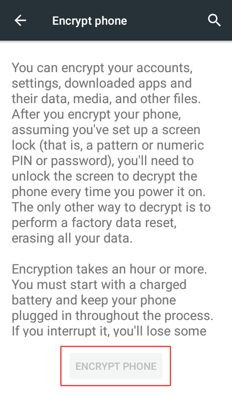 Click on Encrypt Phone button - How to Encrypt Your Android Phone