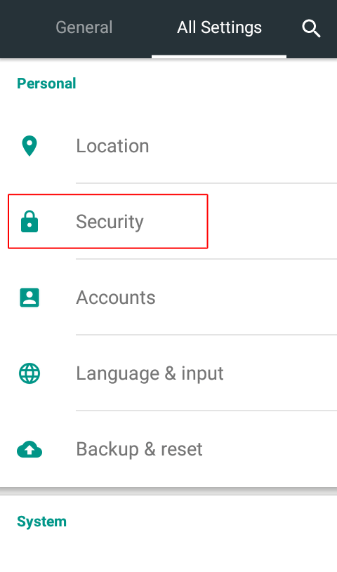 Click on Security - How to Encrypt Your Android Phone